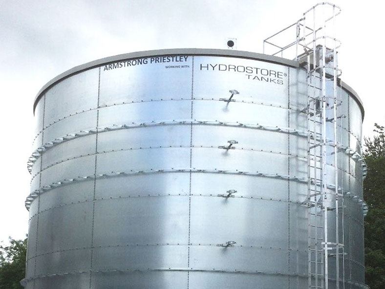 Image of one large external cylinder water steel tank