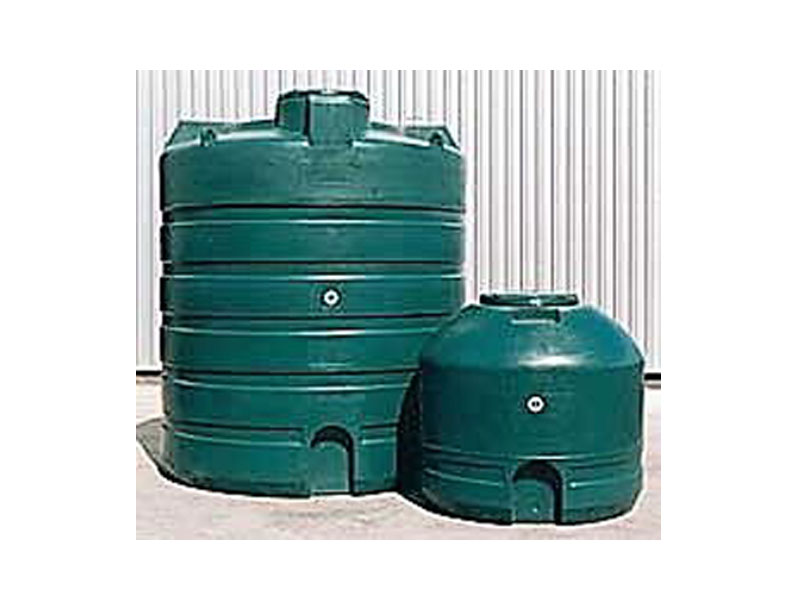 Image of two green plastic water tanks
